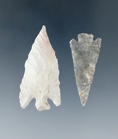 """Ex. Museum! Pair of Columbia Plateau points found near the Columbia River, largest is 1 1/2""""."""