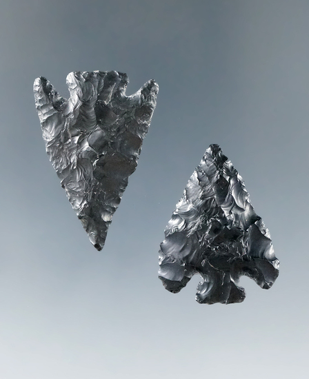 Ex. Museum! Pair of obsidian Columbia Plateau points found near the Columbia River.