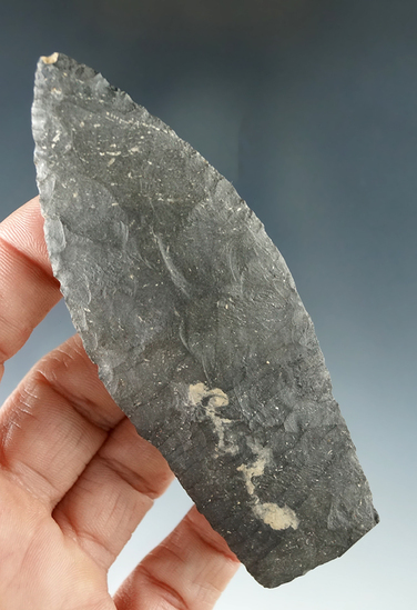 "3 15/16"" Paleo Lanceolate with old restoration to the very end of the tip - Huron Co. Ohio."