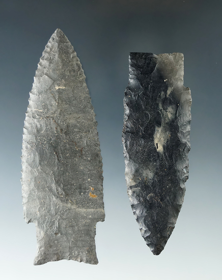 Pair of well made but restored Paleo Stemmed Lanceolates - Sandusky Co. Ohio.