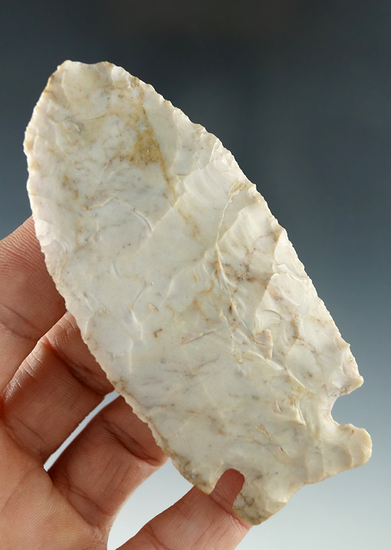 "3 9/16"" Sidenotch Knife made from Flint Ridge Flint found near Willard, Huron Co. Ohio."