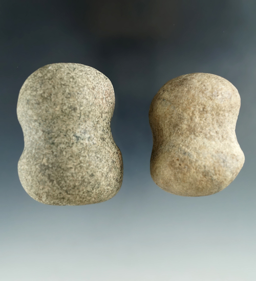 "Pair of Hammerstones found in Seneca and Huron Counties, Ohio. Largest is 2 1/4""."