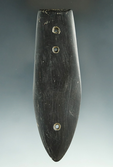 "Very unique! 4 3/16"" Black Slate Miniature Three Hole Glacial Kame Gorget - Huron Co. Ohio."