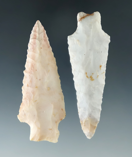 2 restored Flint Ridge Flint points, one has restoration to the tip area, the other to basal corner.