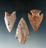 Set of three colorful arrowheads, largest is 2 11/16