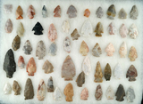 Set of approximately 55 mostly Flint Ridge Flint field found arrowheads from north-central Ohio.