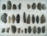 Group of 27 assorted field found tools and knives from north-central Ohio. Largest is 3 5/16