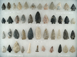 Set of approximately 45 assorted field found arrowheads made from various materials - Ohio.