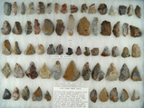 Group of approximately 64 tools made from Pipe Creek chert found in north central Ohio.