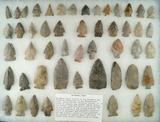 Group of 50 assorted points and knives made from Delaware chert found in central Ohio.