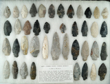Large group of over 40 Archaic Stemmed points made from various materials found in central Ohio.