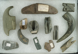 Excellent study group of damage slate artifacts found in north central Ohio. Largest is 5 3/8