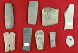 Set of 9 damaged or unfinished slate artifacts found in north central Ohio. Largest is 3 1/2