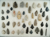 Group of over 40 assorted field found points from north-central Ohio. Largest is 2 1/2