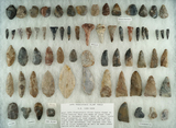 Group of assorted field found Flint tools including drills and blades. Largest is 2 7/8