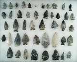 Group of approximately 45 assorted field found arrowheads and knives made from Upper Mercer.