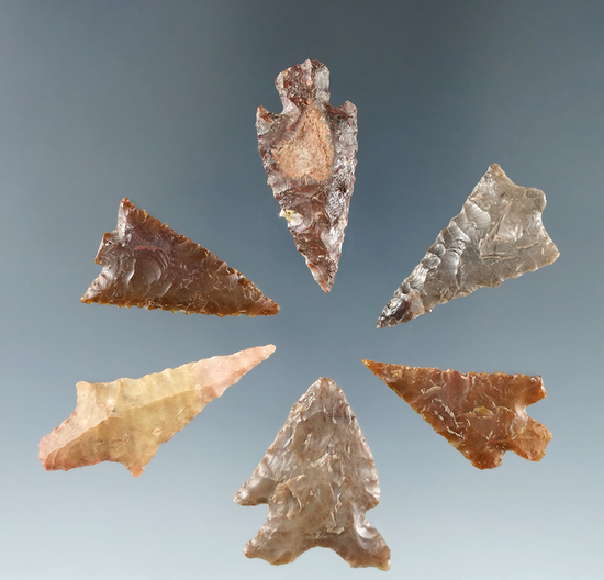 "Set of 6 Columbia River Gempoints found by Dewey Schmid prior to 1950, largest is 1 7/16""."