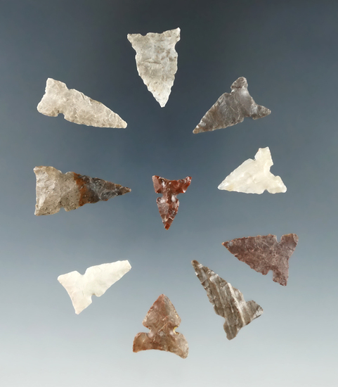 "Set of 10 Columbia River arrowheads, largest is 1""."