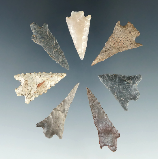 "Group of 7 Assorted Arrowheads found near Muddy Creek, Linn Co., Oregon. Largest is 1 5/16""."