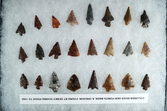 Group of approximately 24 assorted arrowheads in various conditions. Found in Washington -Oregon.