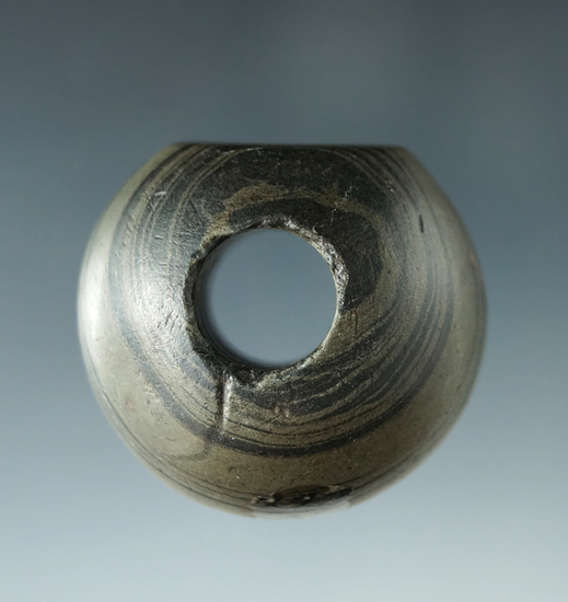 "1 1/2"" x 1 1/4"" Fluted Ball Bannerstone - Thorn Twp., Perry Co., Ohio. Ex. Dr. Gordon Meuser."