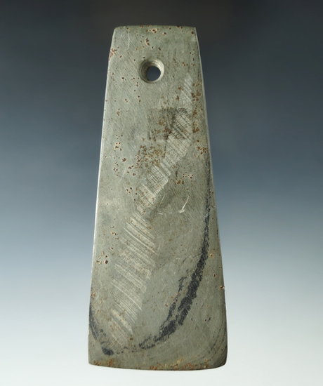 "4 9/16"" Adena Trapezoidal Pendant found in Ross Co., Ohio. Heavy mineral deposits on surface."