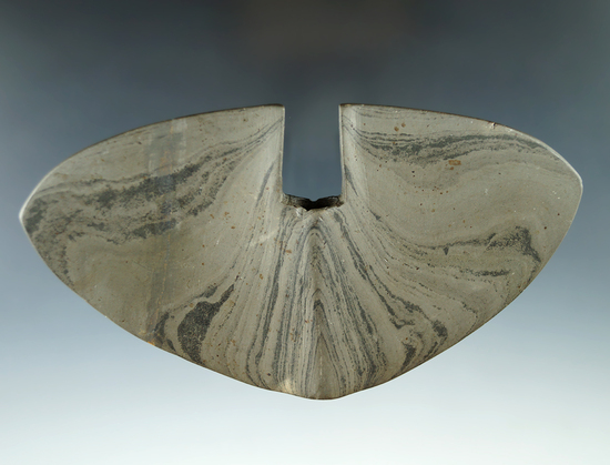"Rare style 5 5/8"" Single Notch Butterfly Bannerstone with one wing  broken and glued."