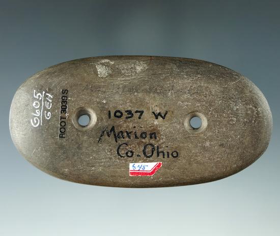 "3 9/16"" Glacial Kame Oval Gorget - Marion Co., Ohio. Ex. Wherle (1037w), Heckman.  Davis COA."