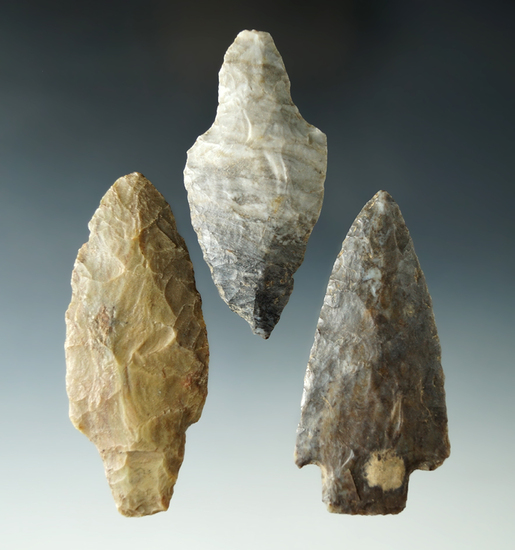 "Set of 3 Adena Points found in Ohio and Michigan, largest is 3 1/4""."