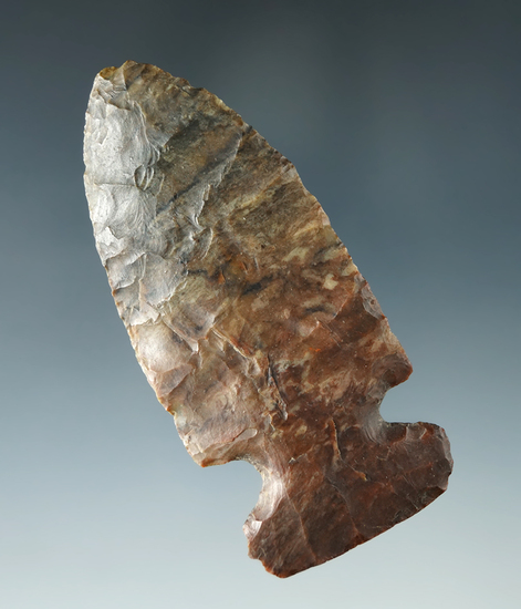 "3"" Archaic Sidenotch made from colorful Upper Mercer Flint, found in Ohio. Ex. Virgil Doughty."