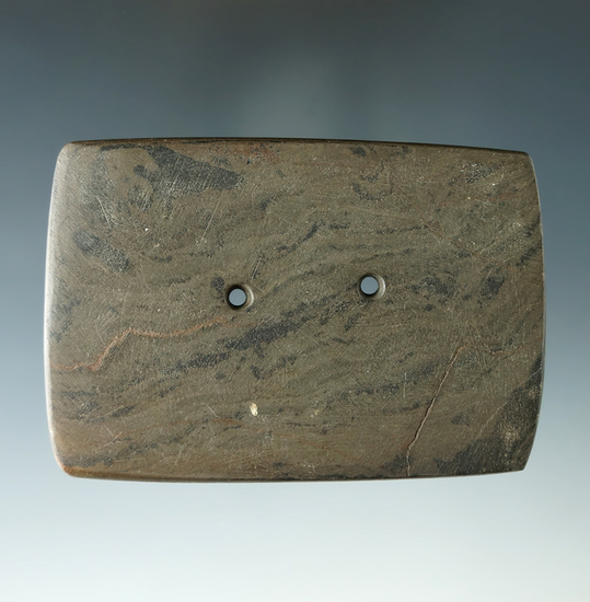 "3 1/4"" Hopewell Rectangular Gorget found in Ohio. Ex. Charlie Bingaman, Jim Johnston Collections."