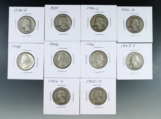 1934-D, 1939, 1940-S, 1942-D, 1944, 1945 1946, 1948-S, 1950-S and 1952-S Washington Silver Qtrs