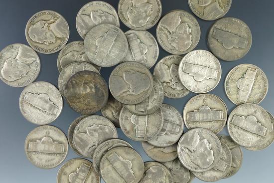 40 Assorted Silver War Nickels G-VF