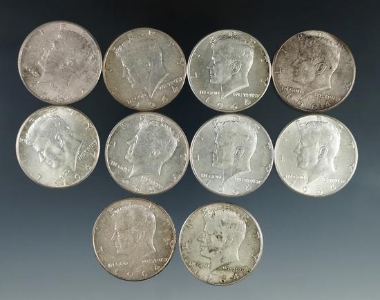 10 1964 Kennedy Silver Half Dollars XF-AU