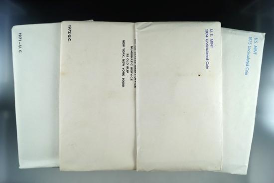 1971, 1972, 1974 and 1975 Mint Sets in Original Envelopes