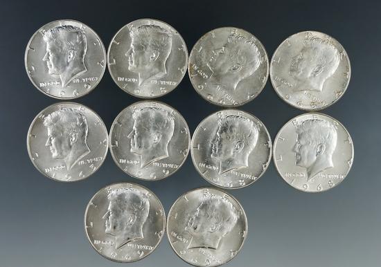 10 1965-69 Kennedy 40% Silver Half Dollars AU-BU