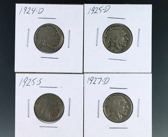 1924-D, 1925-D, 1925-S and 1927-D Buffalo Nickels G-VG