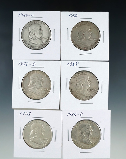 1949-D, 1950 1952-D, 1958, 1963 and 1963-D Franklin Silver Half Dollars VF-AU