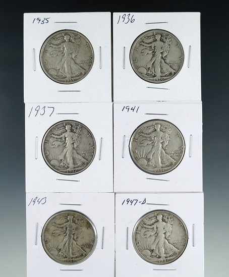 1935, 1936, 1937, 1941, 1943 and 1947-D Walking Liberty Half Dollars F