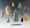 Set of artifacts - Kettle Falls, Washington including points, knives, 1 7/8