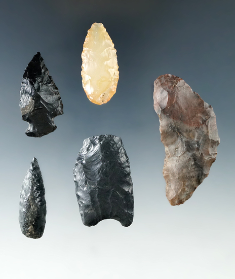 5 flaked artifacts including a Crescent Knife and a beautiful agate Leaf Point found in  Oregon.