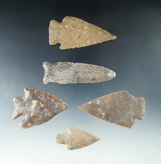 "Nice set of five large arrowheads found in Texas, largest is 3""."
