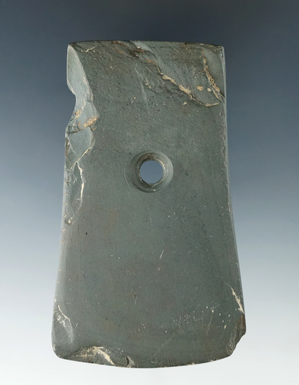 "3 1/2"" green banded slate Pendant found in Licking Co., Ohio by J. Brandar."