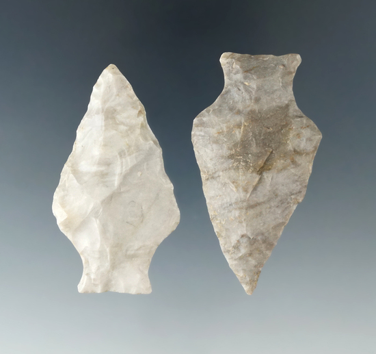 "Pair of Ashtabula points found in Wayne and Huron Co., Ohio. Largest is 2 5/16""."