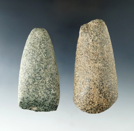 "Pair of stone tools including a 3 9/16"" Adze and a 3 1/16"" Celt found in Licking Co., Ohio."