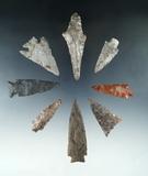 Set of 8 Nebraska Arrowheads, largest is 2 15/16