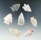 Set of seven Flint Ridge Flint arrowheads found in Fairfield Co., Ohio, largest is 1 11/16