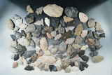 Group of 100 Wayne Co., Ohio field grade arrowheads, knives and other flaked artifacts.