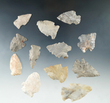 Set of 12 assorted arrowheads found in Fairfield Co., Ohio, largest is 1 7/8