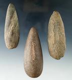 Set of three Plummet Preforms found in Ohio, largest is 3 3/16